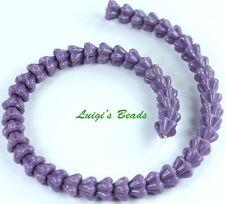 50 Opaque Purple Czech Glass Beads Baby Bell Flower 4x6mm