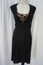 Adrianna Papell Dress Sz 10 Black Horsehair Banded Cocktail Evening Party Dress