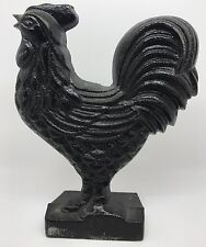 1989 ARTMARK Cast Metal Rooster Chicken Door Stop, Farm Country Decor (RF627)