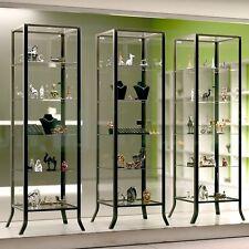 Modern Curio Cabinet Glass 5 Shelf Store Display Case Fixture Metal Door Lock 1