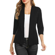 Women Mini Suit Casual 3/4 Sleeve Open Front Work Office Blazer Jacket Cardigan