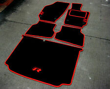 Black/Red Car Mats to fit VW/Volkswagen Polo (2009 on) + Boot Mat + R Line Logos