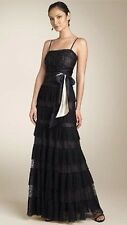 $500 BCBG MaxAzria Lace And Tulle Black Formal Gown Dress - Size Small