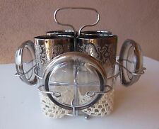 Silver Trimmed Glasses with Silver Trimmed Glass Coasters and Holder - Set of 4