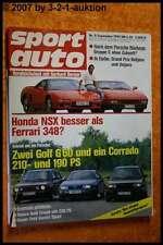 Sport Auto 9/90 Honda NSX Ferrari 348  Golf G60 Corrado