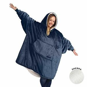 Oversized Microfiber & Sherpa Wearable Blanket, Adult One Size Fits All, Blue