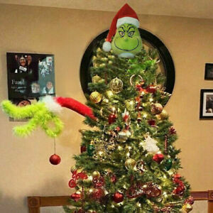 The Grinch Christmas Decorations Furry Green Grinch Arm Ornament Holder Tree Set
