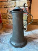 Stitze aus Zinn 18 Jhr ° Kanne Krug mit Deckel filigran beschädigt Höhe 30cm