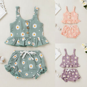 Toddler Kids Baby Girl Crop Top + Floral Shorts Pants Summer Outfits Clothes Set