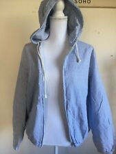New! Brandy Melville White/blue striped  Zip Up KRISSY hoodie JACKET NWT