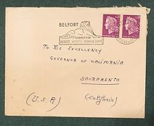 France Cover To CA. Governor Ronald Reagan, Belford, France. A Piece History.
