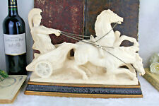 VTG italian Plaster Roman gladiator Chariot statue horses group circa 1970