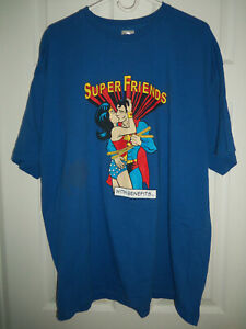 Super Friends With Benefits 2XL T Shirt Superman Wonder Woman Funny Joke Heroes