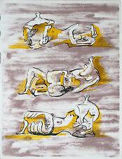 HENRY MOORE - Tres de descanso figuras (1971). Sin firmar Original litografia