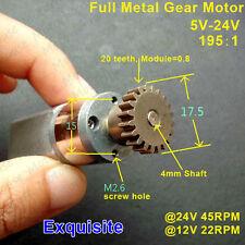 DC 5V 6V 9V 12V 24V 45RPM Full Metal Gearbox Gear Motor Low Speed Micro Motor