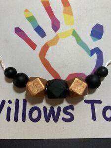 Teething Necklace, Silicone Nursing/Sensory Jewellery BPA Free, Copper & Black