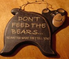 DON'T FEED THE BEARS Black Rustic Carved Wood Log Cabin Home Wall Sign Decor NEW
