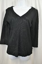 three dots Black Animal Print Sheer Pull-Over Blouse/Top Size Large MSRP $98