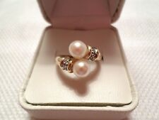 10K Gold Pearl Bypass Ring w/Diamonds Size 6 Free Shipping