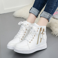 Women's Casual Ankle Boot High Top Wedge Hidden Heels Sneaker Flat Lace Up Shoes