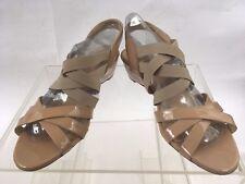 Women's Amalfi by Rangoni Patent Leather Strappy Sandal Wedges Nude/Tan/Blush Si
