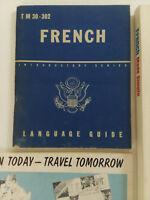 WWII WAR DEPT FRENCH LANGUAGE GUIDE INTRO SERIES 1943 TM 30-302  + 2 BONUS BOOKS