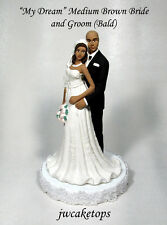 Bald Groom African American Wedding Caketop Bride 49BA