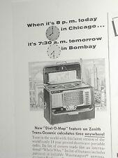 1955 ZENITH advertisement, Zenith Trans-Oceanic shortwave radio R600 1/2 page ad