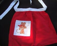 Vintage Child Girl Christmas Apron Red Cotton Teddy Bear Applique Pocket