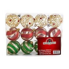 HAND PAINTED TRADITIONAL CHRISTMAS BALLS RED AND GREEN ORNAMENTS