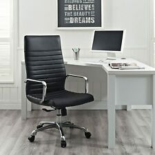 Modway Finesse Ribbed High Back Computer Desk Office Chair In Black