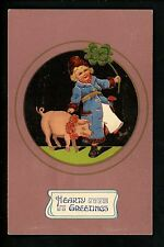 Animal Vintage postcard Hearty Greetings pig child four leaf clover