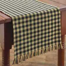 Primitive Country Black Tan Gingham Table Runner 13X36 Farmhouse Check size 1/2""