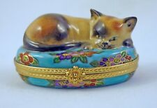 New French Limoges Trinket Box Beautiful Cat on Gorgeous Turquoise Floral Box