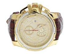 Mens Aqua Master 50MM Stainless Steel Brown Leather Diamond Watch W#352 0.20 Ct