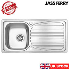 JASSFERRY Stainless Steel Kitchen Sink Reversible Drainer Single Bowl Pipes