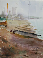 Brighton i360 beach pier promenade seaside coast watercolour original painting