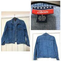 Agapo Denim Shirt Jacket Long Sleeve Blue Size Medium M Women (A764)