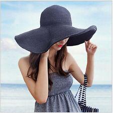 US Women Wide Large Brim Floppy Summer Beach Sun UV Proof Hat Straw Hat Cap Pop