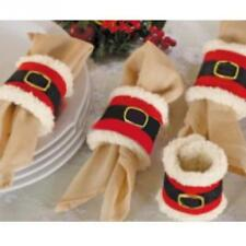 8x Santa Napkin Ring Holders Christmas Table Decoration Father Xmas Dinner Party