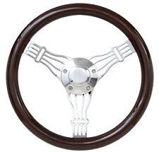 "Mahogany Banjo Steering Wheel Volkswagen VW 1960-73 Bug 411 412 14"" Full Kit"