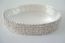 5 Row Stretchy Clear Diamante Ankle Bracelet Rhinestone Anklet *Pls Check Size