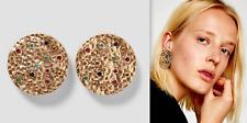 Zara Hermoso Tono Oro Extra Grande con incrustaciones de metal pendientes Nueva