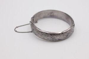 Vintage .925 Sterling Silver Engraved BANGLE, Ornate (35g)