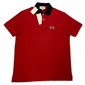 $900 Gucci Red Cotton Polo Shirt with GG Embroidery Size XXL, Made in Italy