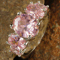 Wedding Gifts Oval Cut Pink Topaz Gemstone Silver Ring Size 6 7 8 9 10 11 12 13