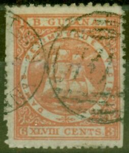 British Guiana 1863 48c Dp Red SG83 Ave Used Ex-Fred Small