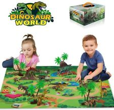 Baztoy 9 Dinosaurs Toys Figures Realistic Model Sets Play Mat for Kids + Trees