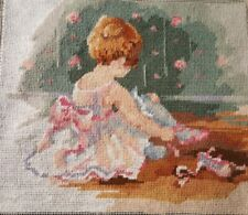 Bucilla Little Ballerina #4648 Finished Needlepoint on Wooden Frame 12 X 10