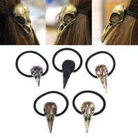 Bronze Silver Bird Skull Hair Tie Plague Doctor Crow Raven Gothic Elastic Band
